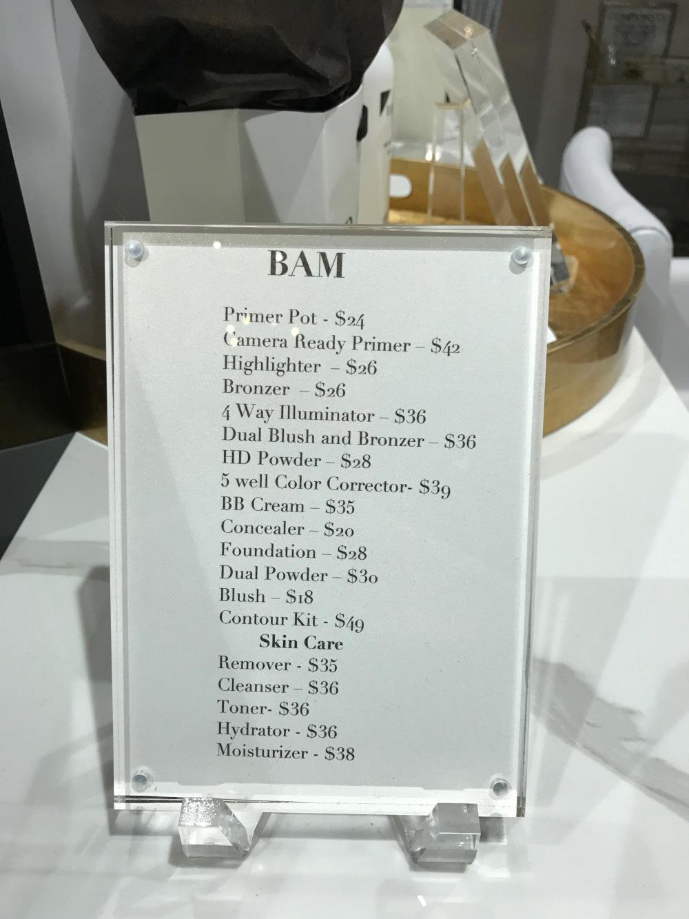 BAM Makeup Products