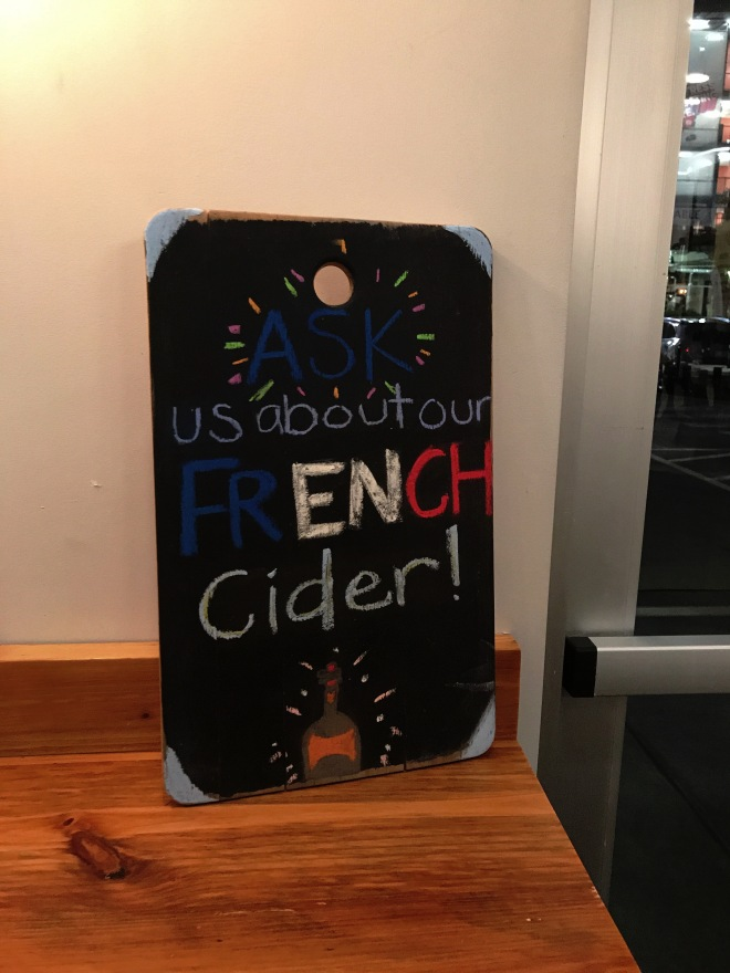Whisk Crepe Cafe French Cider Chalk Board