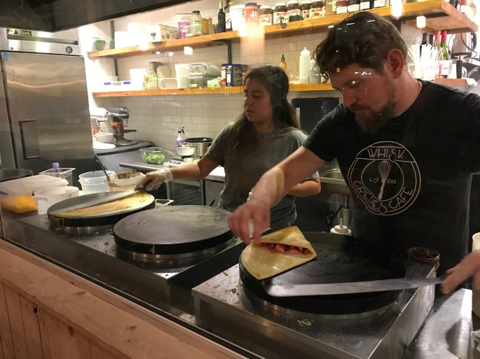 Julien and Employee Making Crepes