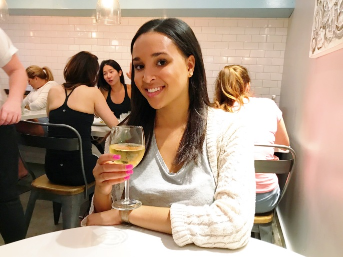 Madisen with Wine at Whisk Crepe Cafe