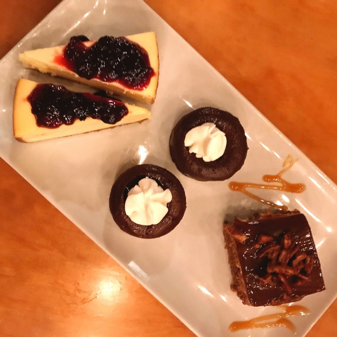 Cheesecake, Warm Double Chocolate Cake, and Sticky Toffee Pudding Cake.JPG