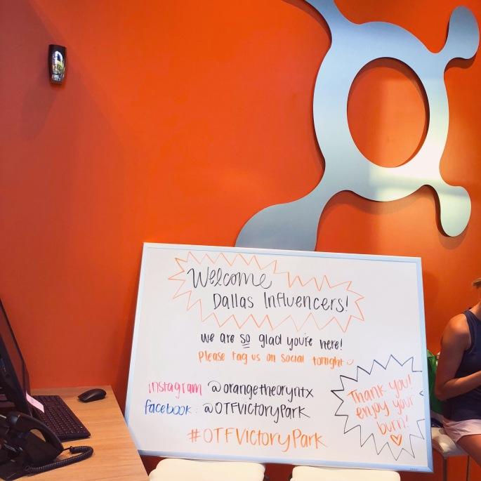 Orangetheory Fitness Victory Park Influencer Welcome Sign.JPG